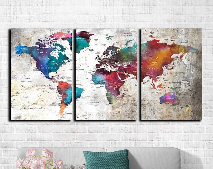 World map wall art, World map canvas large watercolor art print, world travel map canvas, push pin map, rainbow map colorful art print