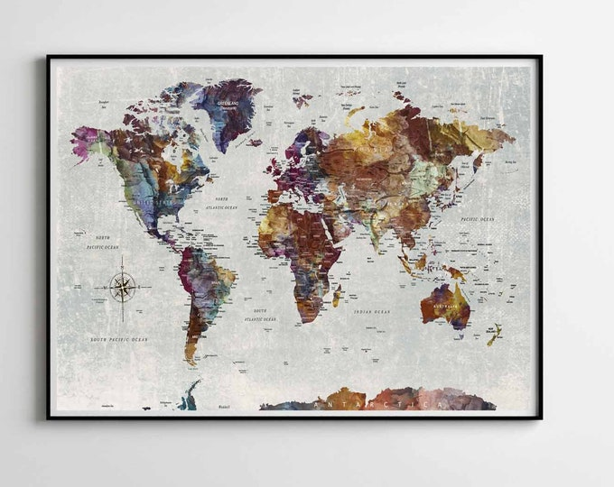 world map art  large poster print, world map wall art, world map print, world map art print, world map decal, world map abstract art travel