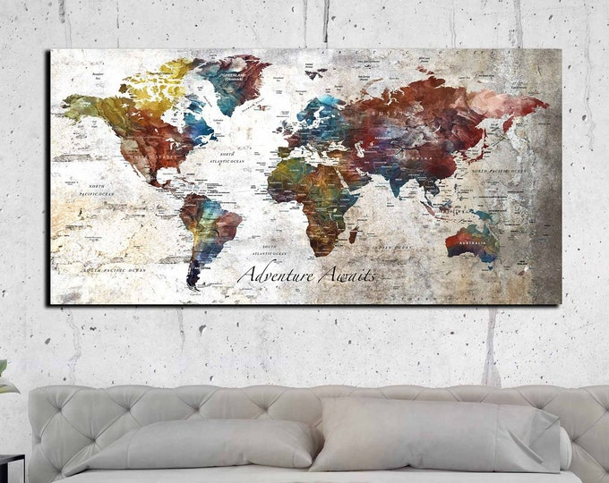 Personalized large world map canvas print, world map customizable art print, world map wall art, world map canvas print, push pin map print