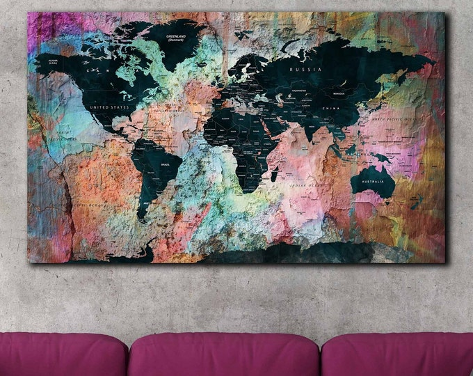 Rainbow art, rainbow wall art canvas print, rainbow map for teachers, teachers' art, school map canvas print, colorful travel map, world map