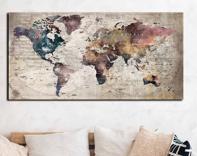 World map art large canvas print, travel map push pin, world map vintage, world map print large, push pin map, travel map canvas, map art