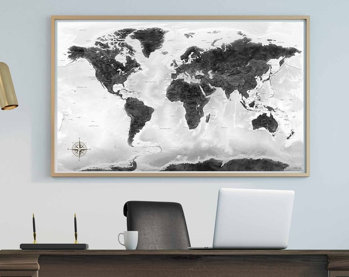 Large detailed world map push pin black and white canvas print ready to hang, world map wall art, world travel map, world map push pin