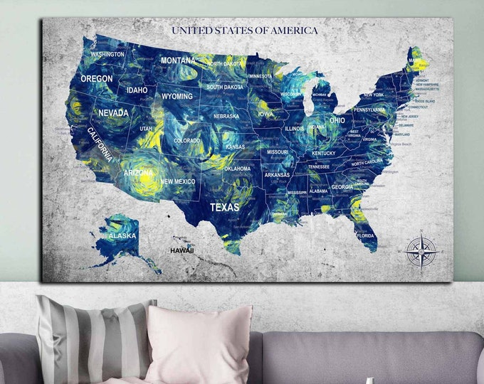 Van Gogh's Starry Night inspired USA map art canvas print ready to hang, us travel map, us push pin map, USA map art print,America map print