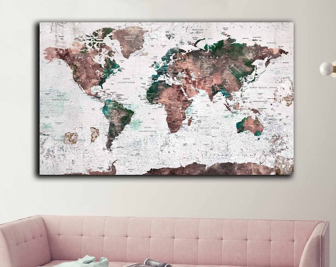 World map large canvas print detailed travel map art, push pin map canvas print, world map wall art, world map large print, world travel map