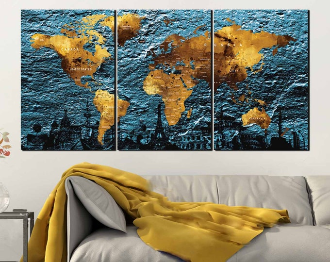 Textured World Map Wall Art, World Map Push Pin,World Map Large,World Map Wall Art,Travel Map,World Map Canvas,World Map Print,World Map Art