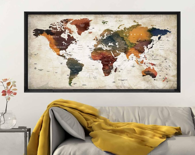 Push Pin World Map,Pushpin Map Poster,Travel Map,Travel Map Poster,Travel Map Decal,Large World Map,Large World Map Poster,Pushpin Map,Map