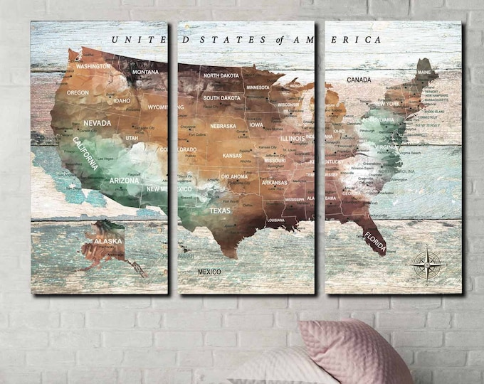 United States map art 3 panel canvas print ready to hang, US map art canvas, USA travel map, US push pin map, us map print, us map large art