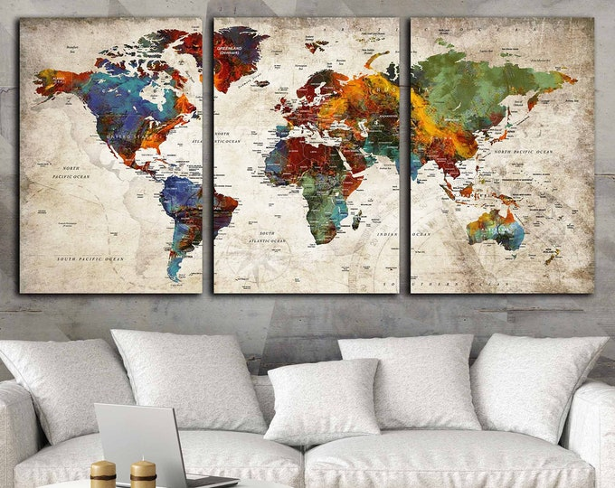 World Map Wall Art 3 Panel Canvas Art,World Map Large Canvas Panels,World Map Art,World Map Canvas,World Map Abstract Art,World Map Push Pin