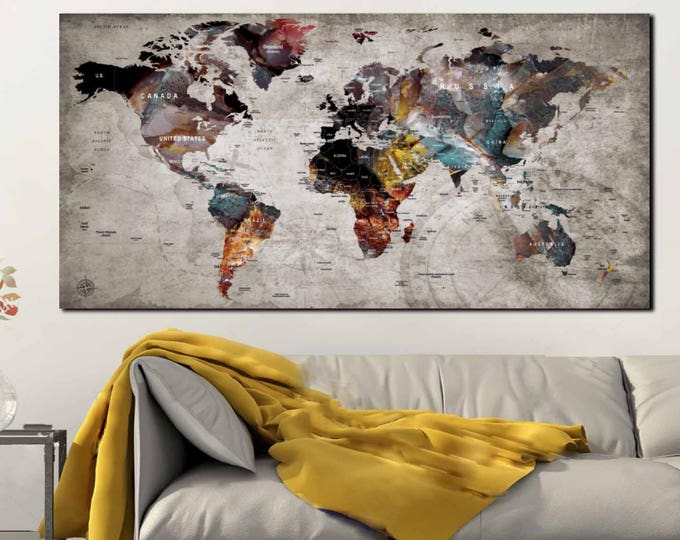 Pushpin World Map,Pushpin Map Canvas,World Map Pushpin,Travel Map,Travel Map Panel,Pushpin Travel Map,Large Pushpin Map,Pushpin Map Canvas