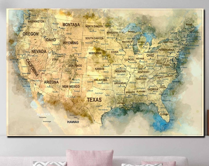 US map art canvas print ready to hang, US push pin map watercolor art, USA map large, United States map canvas print, Us map art print, Us
