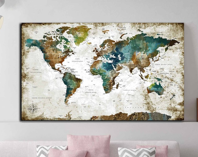 World map large canvas single panel art print, world travel map, world map wall art, world map canvas art, world map print, push pin map art