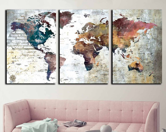 World map large, world map wall art, world map canvas, push pin map, push pin map canvas, travel map, world map print, world map art
