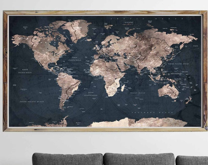 World map large poster print, travel map poster, world map poster, world map art print, world travel map art, world map extra large art
