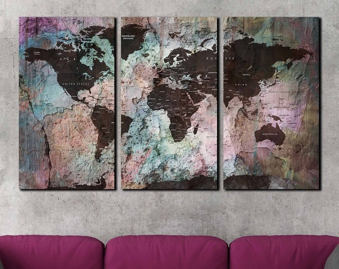 Rainbow map wall art, rainbow color world map wall art, colorful world map art, world map large canvas art print, travel map push pin