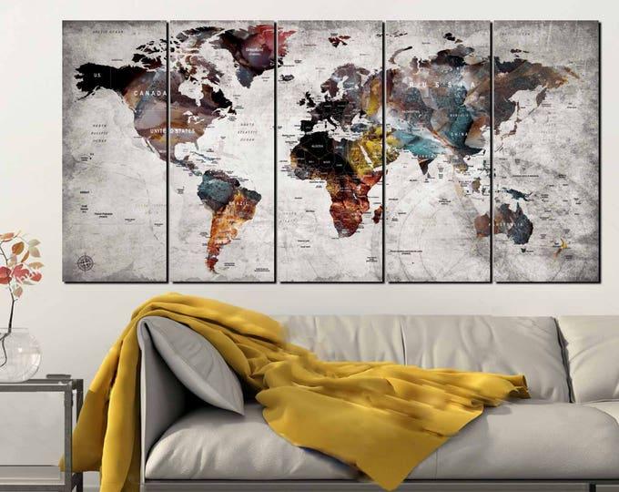 World Map Wall Art,World Map Canvas Art,Large World Map,World Map 5 Panels,World Map Push Pin,World Map Abstract,World Map Art,World Map