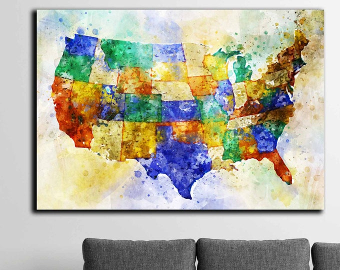 US map watercolor canvas print ready to hang, US map art print, US map abstract art, America watercolor map print, Us travel map art decor