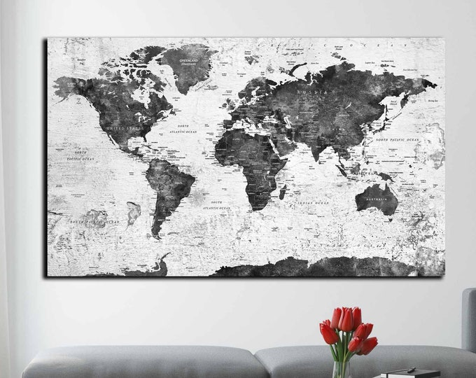 World map rustic black and white art print ready to hang, world travel map canvas, world map print, travel map, world map art, push pin map