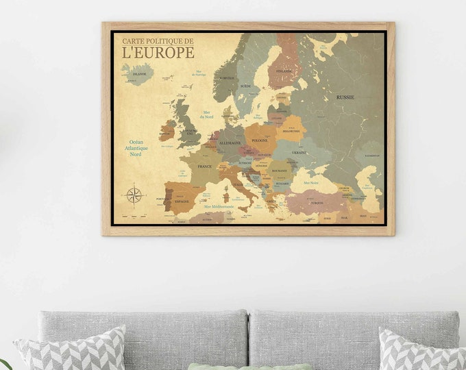 Europe vintage map large canvas print ready to hang, Europe map antique, Europe map wall art, Europe map print, Europe map art print