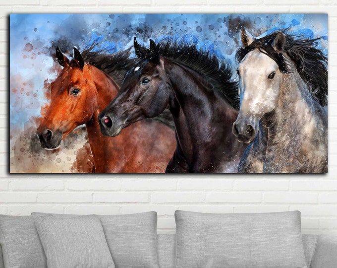 3 horses watercolor art large canvas print, Horse wall art, horse art, horse painting, horse print, horse canvas print, horse canvas art