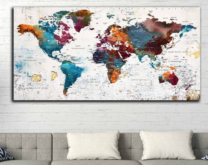 Push pin map, World map push pin, Travel map push pin, World travel map, Personalized map art, World map canvas, World map print, Map art