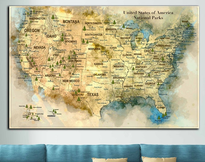 US map with national parks and cities, United States National Parks on the map, US map art with national parks, USA map art, us travel map