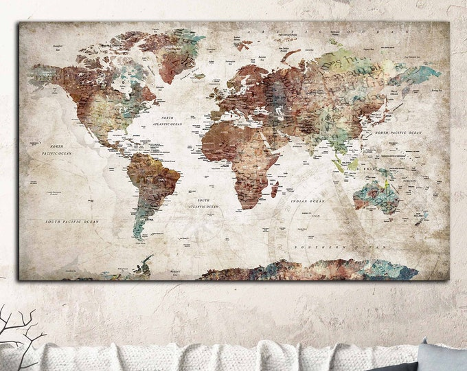 world map push pin, world map wall art, world map travel, travel map world, large world map with cities, travel map print, world map canvas