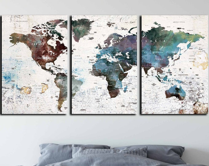Travel map canvas, world map art, world map canvas, push pin map, world travel map, world map panel, travel map push pin, multiple panel map