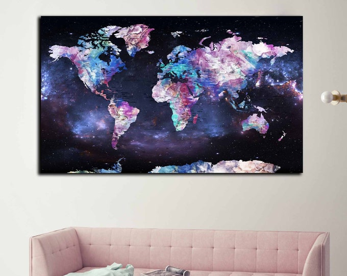 World map space art, Large world map wall art canvas print, world map print large canvas, push pin map, travel map print, rainbow art travel