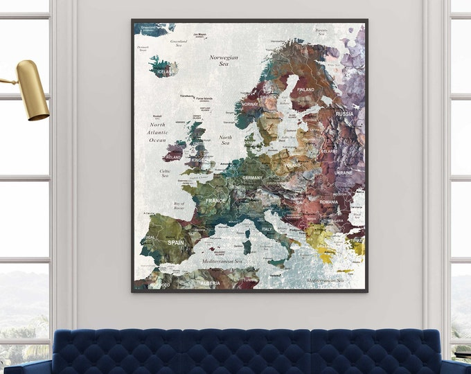 Europe map art single panel canvas print, Europe map art,Europe map art print, Europe travel map, Europe push pin map, Europe map art