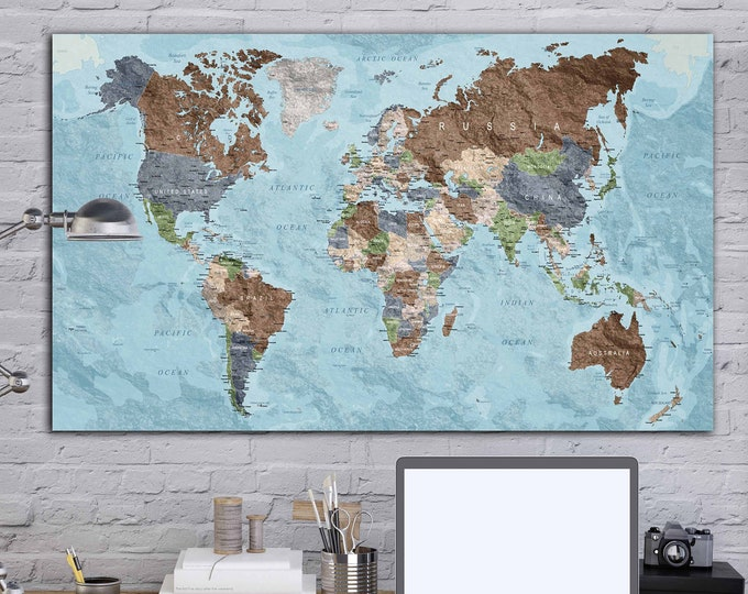Vintage world map single panel ready to hang, World map wall art, World map canvas  print large world map push pin, travel map, World travel