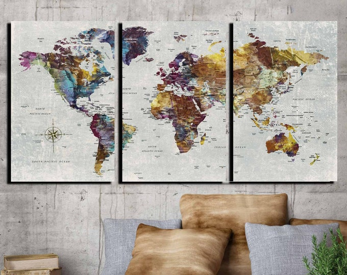 World map large 3 pieces canvas print ready to hang, rustic world map art print, travel map push pin art print, world map vintage detailed