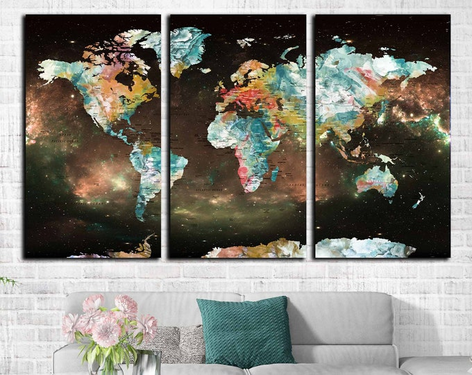 Unique world map art canvas print, world map wall art, world map canvas print, world map push pin, travel map large print,