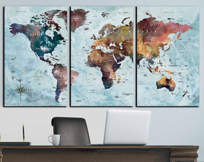 World map large 3 panel art canvas print, World map wall art, world map print large, world map canvas, travel map canvas, push pin map large