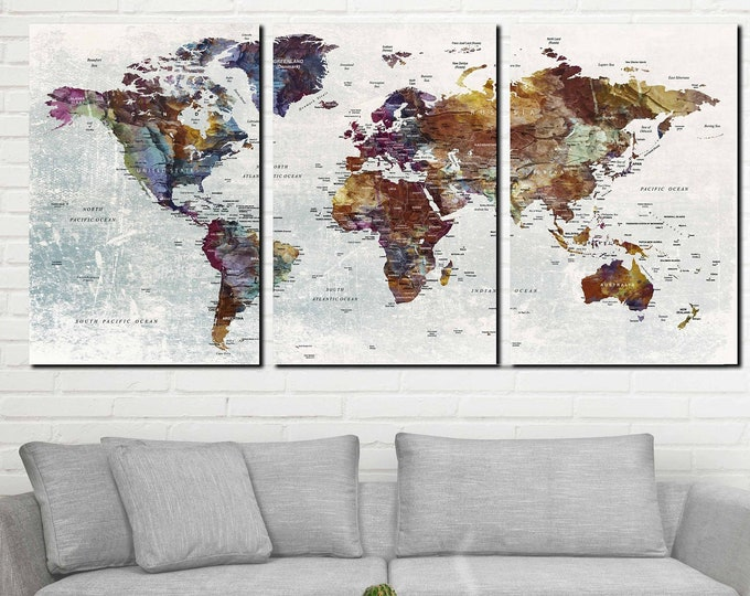 Large world map canvas print, Travel map canvas, Pushpin map canvas print, World map art, World map Print, World map canvas art, Pushpin map