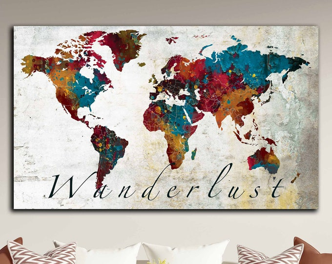 World map art canvas print, wanderlust map, world map wall art, world map decorative art, world map colorful art, world map print, world map