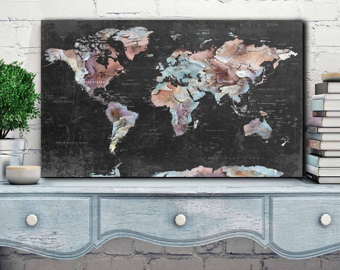 world map large, world map wall art, push pin map, world map print, world map canvas, world map art, world map blue, world map watercolor