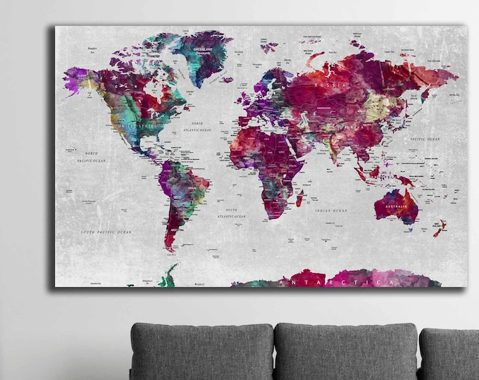 World map large canvas print, World map wall art, world map, push pin map canvas,World map print,World map large,World map abstract art pink