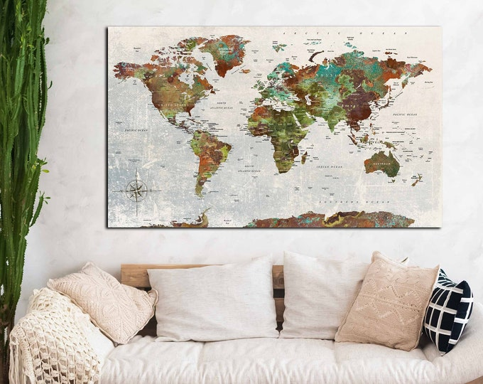 World map large single panel canvas print, World map wall art, World Map Canvas Art, World Map large, World map art, World map abstract art