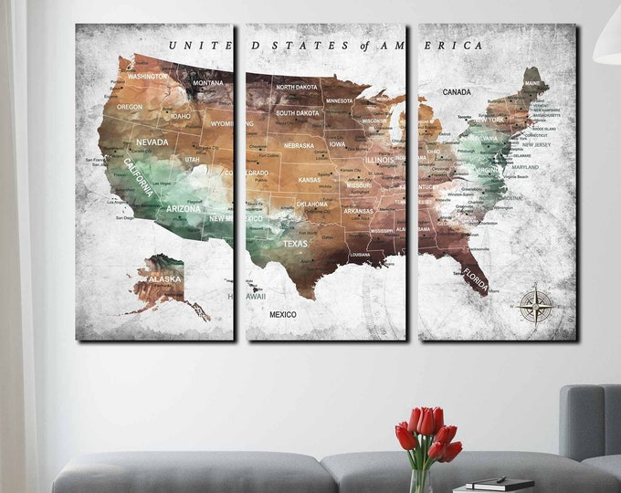 USA map large 3 panel canvas print ready to hang, US map art, US map canvas, us travel map, united states map art canvas print push pin map