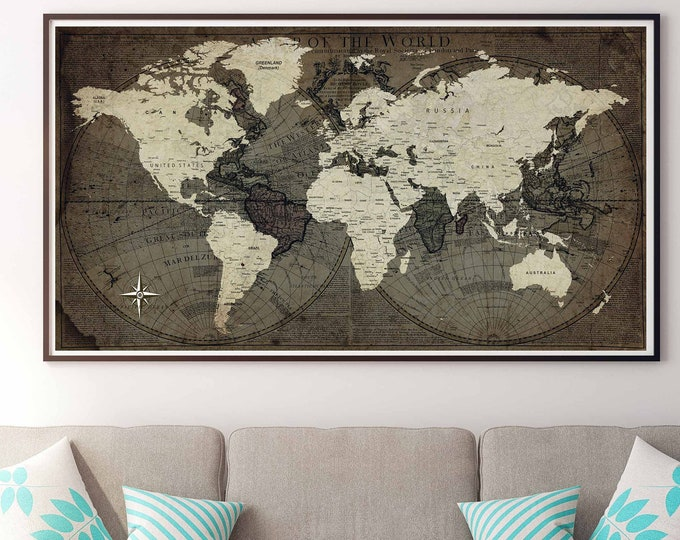 World travel map vintage canvas print ready to hang, world map art, world map canvas, world map print, world map large canvas art, vintage