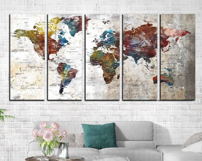 World map large canvas print ready to hang, world map canvas art, world map print large, world travel map, map as art large, push pin map
