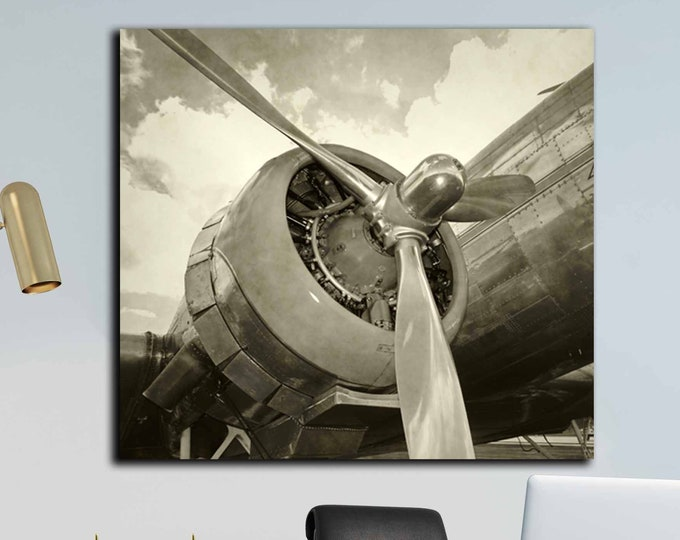 Aircraft art, old aircraft wall art canvas print, aircraft vintage art, airplane art print, rustic wall decor, world war 2 aircraft art