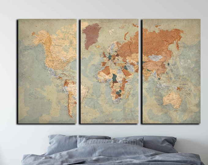 Extra large world map vintage art ready to hang, world travel map wall art canvas art, push pin map large print, world map wall art canvas