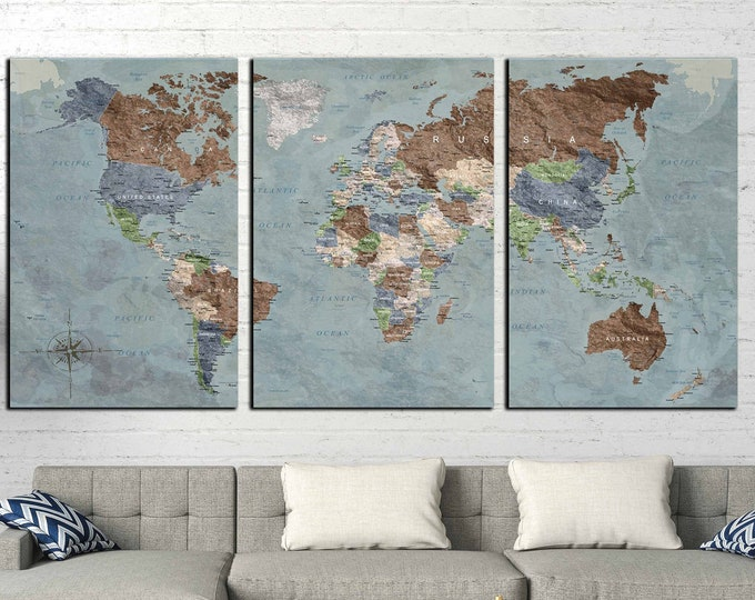 World map large canvas print, World map wall art, World map art, World map canvas, Push pin map print, Travel map art print, Vintage map art