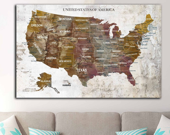 US map canvas print ready to hang, USA push pin map, Personalized US travel map, America map art, Us map art canvas print, Us travel map art