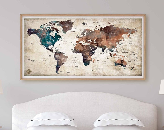 World Map Wall Art,World Map Canvas,World Map Poster,World Map Watercolor,World Map Art,Abstract Watercolor Map,Travel Map,Push Pin Map