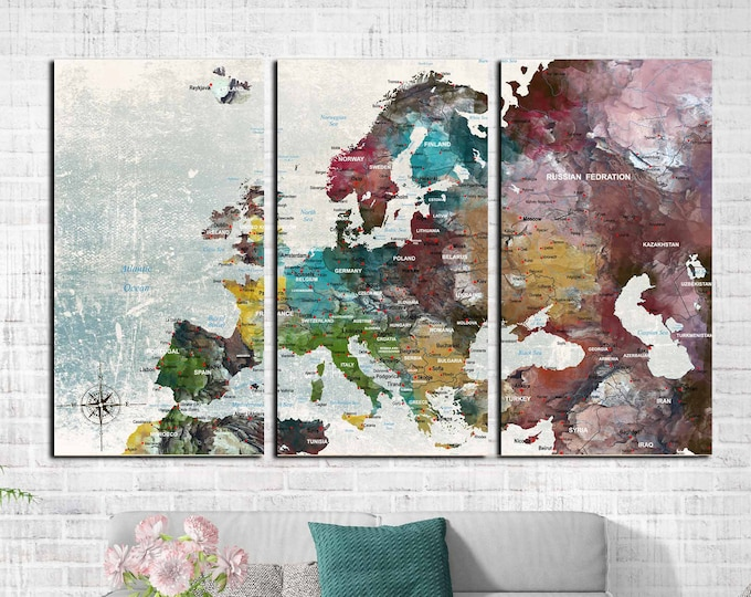 Europe map, Europe map art, Europe map push pin, Europe map canvas, Europe travel map, Europe watercolor art, Europe map print, Europe print