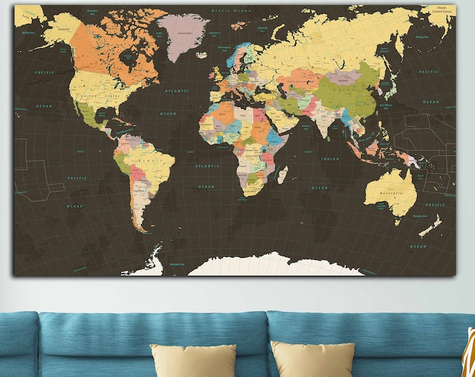 World travel map large canvas print ready to hang, world map wall art, world map push pin, world map large print, push pin map large canvas
