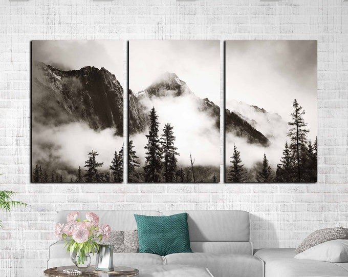 Misty forest wall art, Misty mountains art, foggy forest black and white art print, foggy mountains art, mountains wall art canvas print