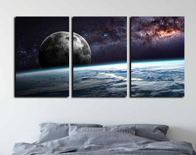 Planet Earth Moon Wall Art,Space Wall Art,Earth n Moon Art,Planet Earth Canvas,Space Canvas Art,Earth Moon and Stars,Moon Poster,Galaxy Art